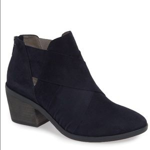 Eileen Fisher Blue Suede Irwin Ankle Booties Boots